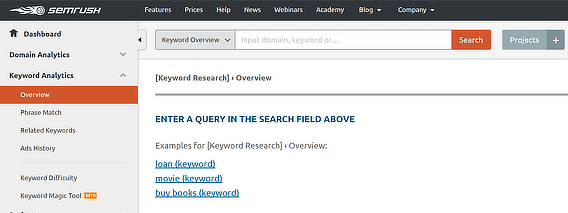 semrush keyword overview blank
