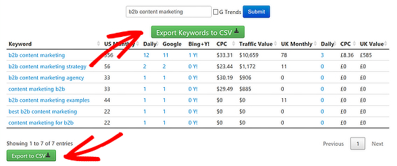 seobook keyword search results page export