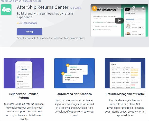 aftership returns center app