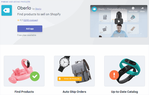 oberlo shopify app makes it easy to sell online