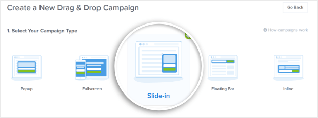 select a slide-in campaign