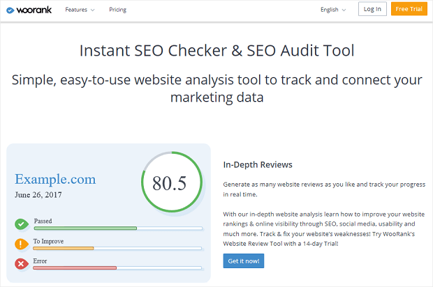 WooRank best seo competitor analysis tool