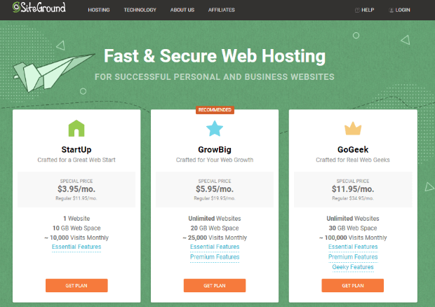 siteground is one of the fastest loading hosting platforms available