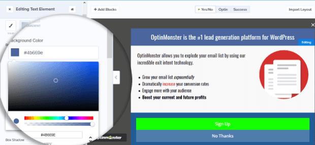 modifica colore del modulo di acquisizione e-mail - OptinMonster