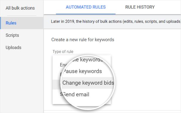 select change keyword bids