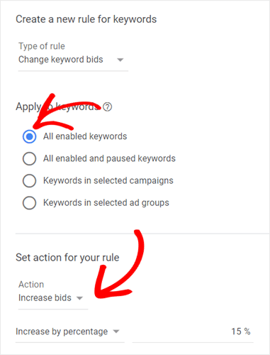create a new rule for keywords in google ads