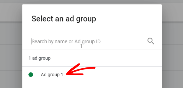 choose the ad group you want to use