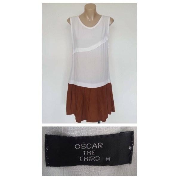 OSCAR THE THIRD Ladies White & Rust Orange Sleeveless Dress Size Medium M