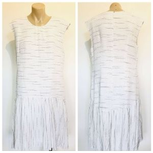VERONIKA MAINE Womens White Striped Bottom Pleated Sleeveless Dress Size 10