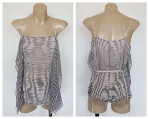 WITCHERY Ladies Black & White Stripe Multi Panel Strap Top Size 6