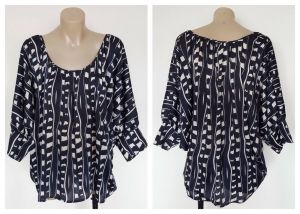 BASQUE Ladies Navy Blue & White Printed Short Sleeve Top Size 12