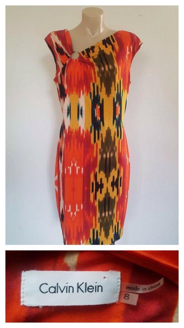 CALVIN KLEIN Womens Multi Colour Party Cocktail Sleeveless Dress Size 8