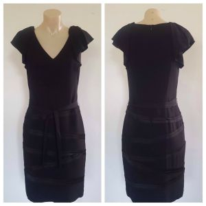 VERONIKA MAINE Womens Black Party Cocktail Ruffle Sleeveless Dress Size 8