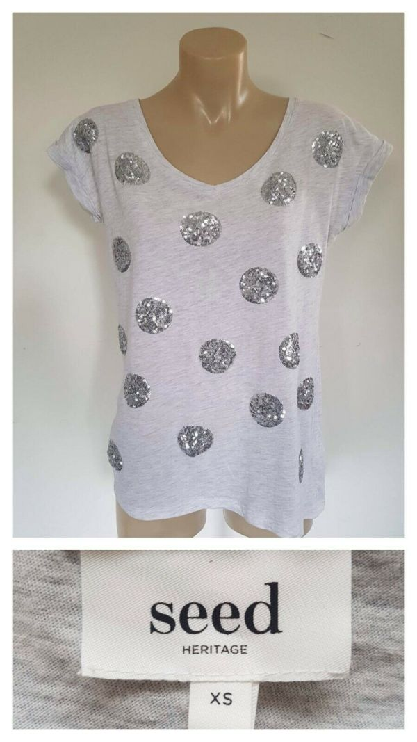 SEED HERITAGE Womens Grey Sequin Detail Cap Sleeve Top Size XS