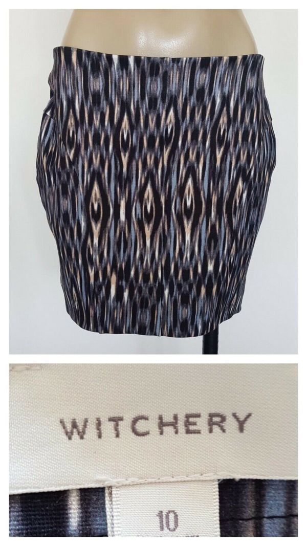 WITCHERY Ladies Multi-Colour Abstract Print Skirt Size 10