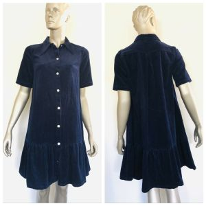 GORMAN Navy Blue Full Button Down Collard Corduroy Dress Size 8