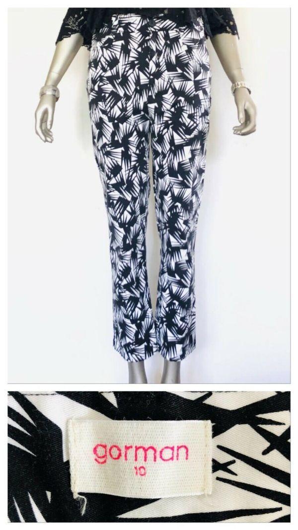 GORMAN Black Black & White All Over Print Pants Size 10