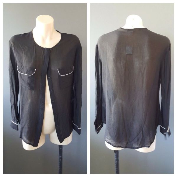 WITCHERY Womens Black Long Sleeve Button Down Top Size 6