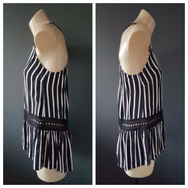 WITCHERY Womens Black & White Strap Top Size 4