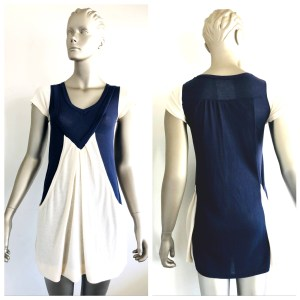 PAPARS Navy Blue & Cream Dress Size Unknown Looks Like An 8