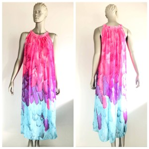 YIYIMEI Feather Print Long Oversized Dress Size Medium M
