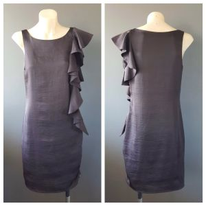 PORTMANS Ladies Black Sleeveless Ruffle Detail Party Cocktail Dress Size 6