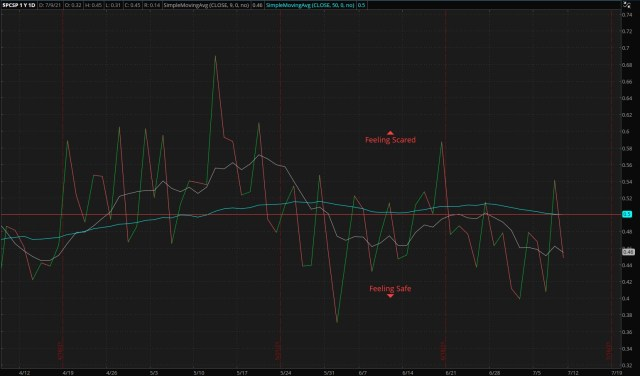 ThinkorSwim/S&P 500 Put/Call Ratio - as of 07/11/21