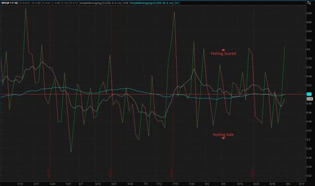 ThinkorSwim/S&P 500 Put/Call Ratio - as of 09/05/21