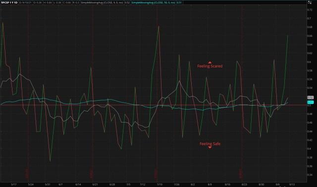 ThinkorSwim/S&P 500 Put/Call Ratio - as of 09/12/21
