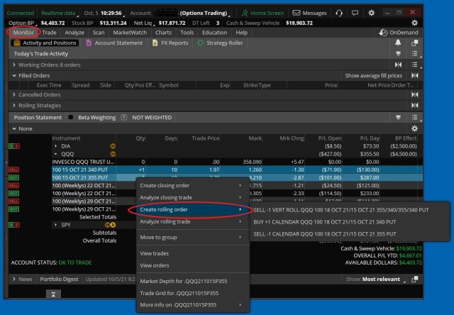 Screenshot showing how to start a Vertical Spread Roll in ThinkorSwim