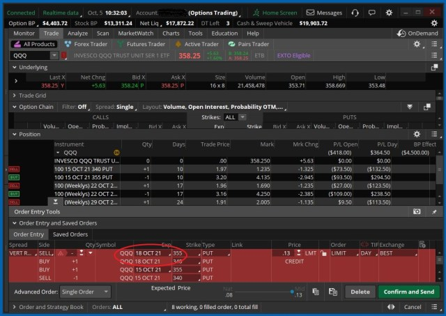 Screenshot showing the default roll-to date for a Vertical Spread in ThinkorSwim