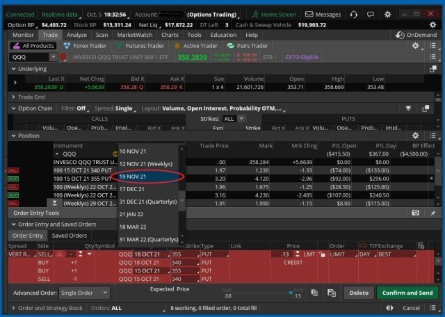 Screenshot showing how to pick the desired roll-to day when rolling a Vertical Spread in ThinkorSwim