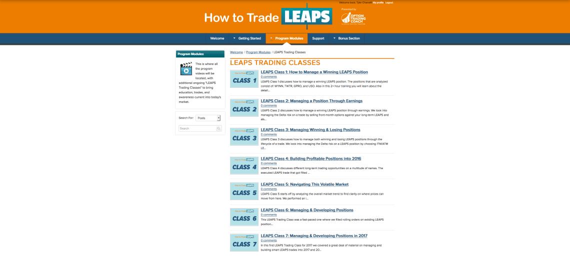 How to Trade LEAPS Kajabi portal