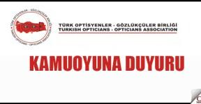 Türk Optisyen-Gözlükçüler Birliği Duyurusu