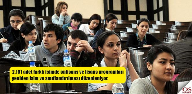 Önlisans programlarının sınıflandırılmasına yeni düzenleme