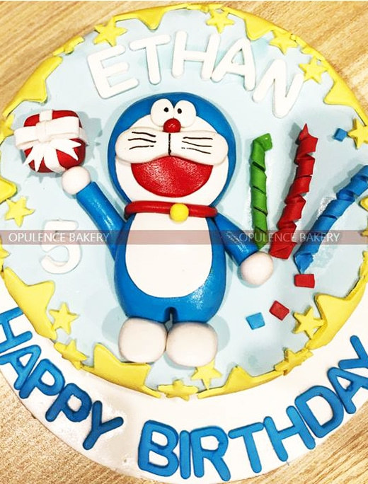 Doremon birthday cake for 5th birthday opulence bakery doremon custom birthday cake voltagebd Choice Image