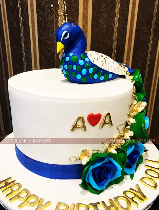 3 Pounds Peacock fondant Cake for Girls