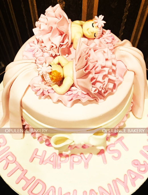 Twin Girls 1st Birthday Cake Opulence Bakery