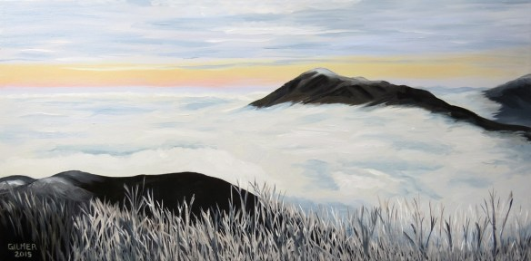 Three Ridges in Cloud 36x18 Oil on Canvas