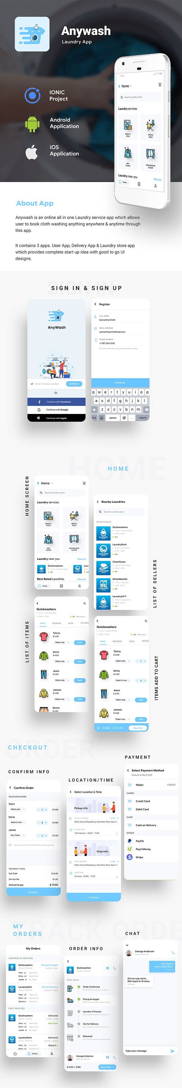 Multi Vendor Laundry Booking & Delivery App  Android + iOS App Template   3 Apps   IONIC 5   Anywash - 4