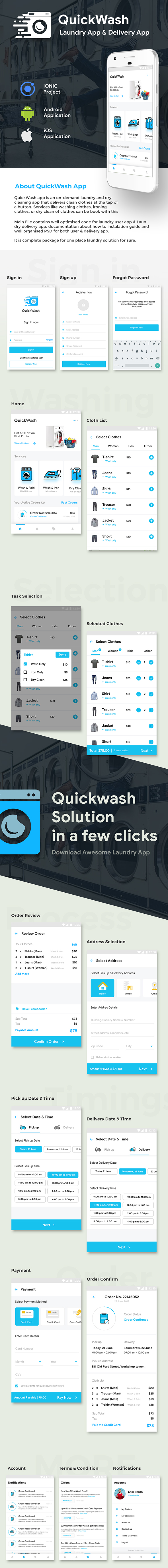 Laundry Delivery App  Android + iOS App Template   3 Apps   (HTML+CSS files IONIC 5) Quickwash - 2