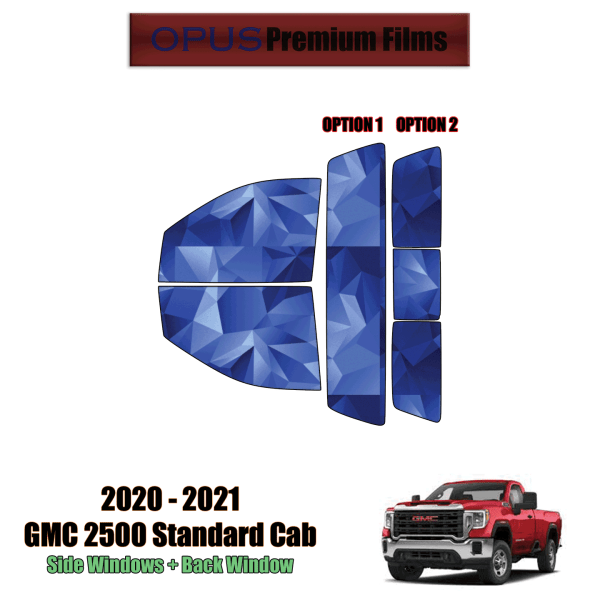 2020 – 2021 GMC Sierra 2500 Standard Cab – Full Truck Precut Window Tint Kit Automotive Window Film