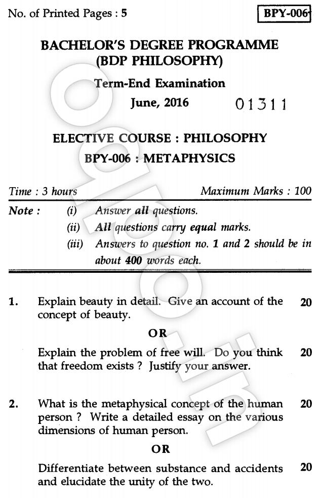 ignou bpy metaphysics question paper