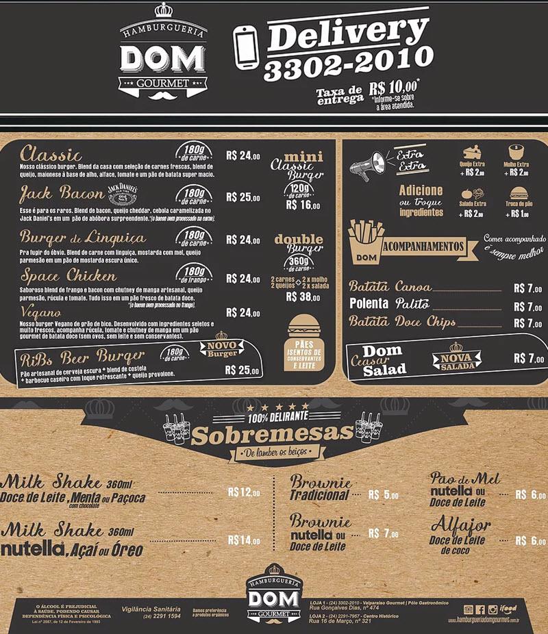 Hamburgueria Dom Gourmet - Cardápio