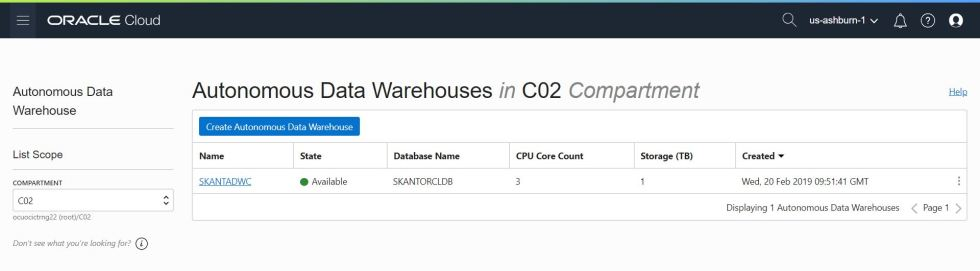 Creating an Autonomous Data Warehouse Cloud (ADWC) database