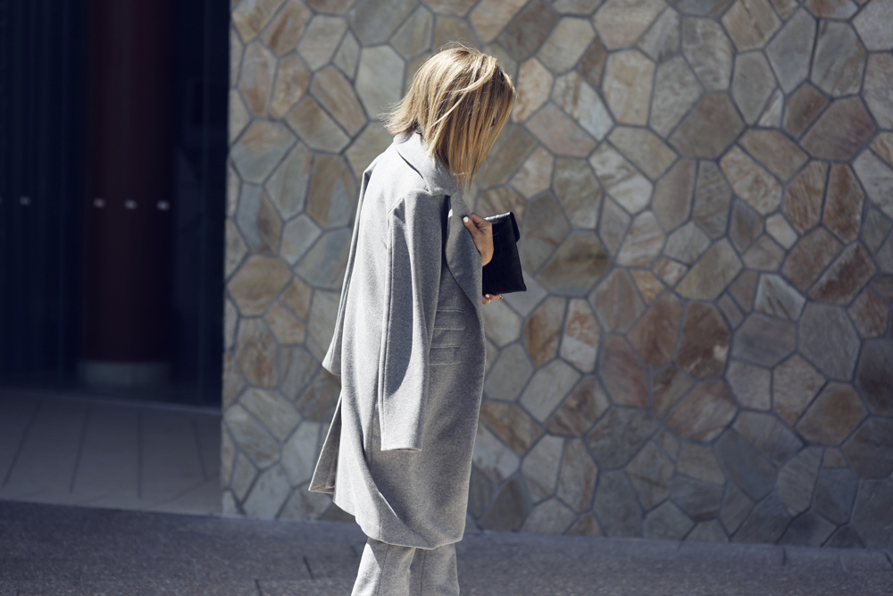 grey, coat, suit, trousers, crop top, givenchy clutch, celine sunglasses, mode collective, pointed heels, outfit, oracle fox