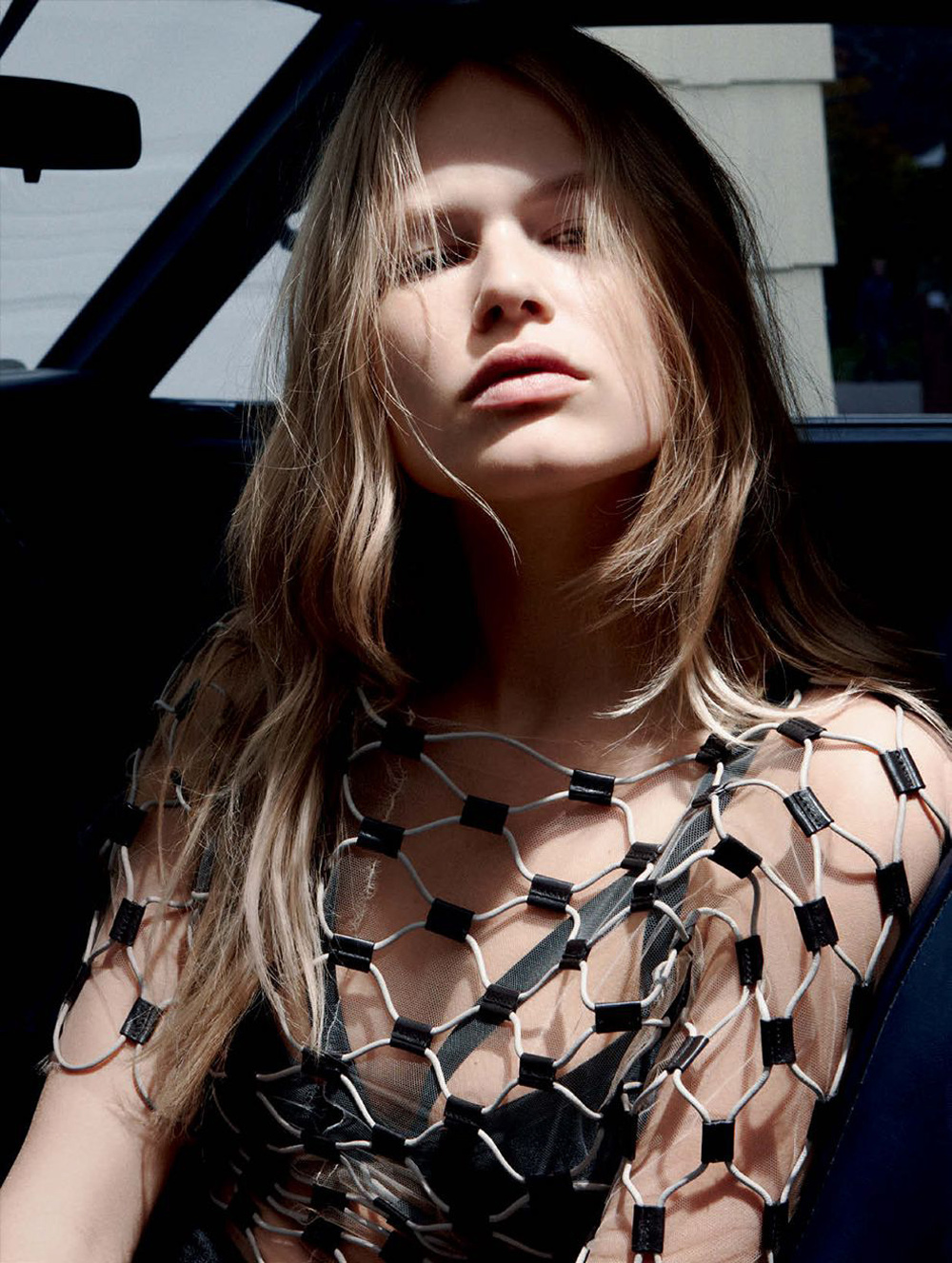 anna ewers, daniel jackson, vogue germany, fashion editorial, march, 2015, car, black, naked, louis vuitton bag