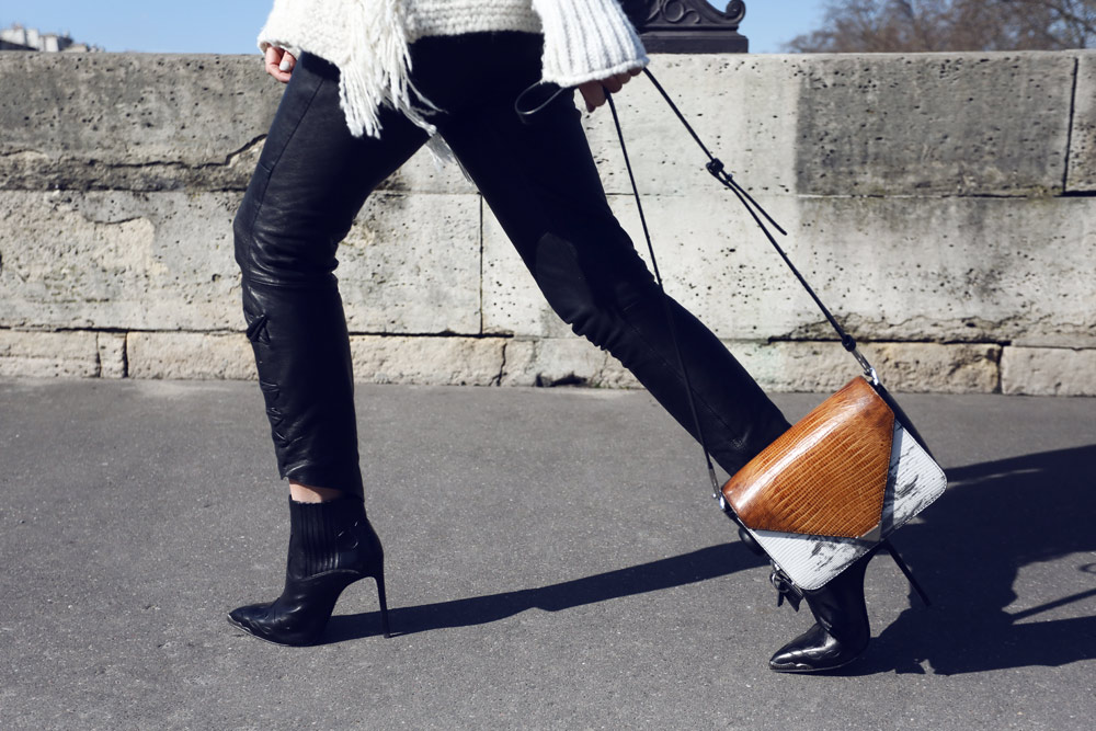 French Style, Isabel Marant Knit, Isabel Marant Aztec Knit, Isabel Marant Poncho, Isabel marant Leather bags, leather pants, Alexander Wang Bag, Paris, Oracle Fox outfit