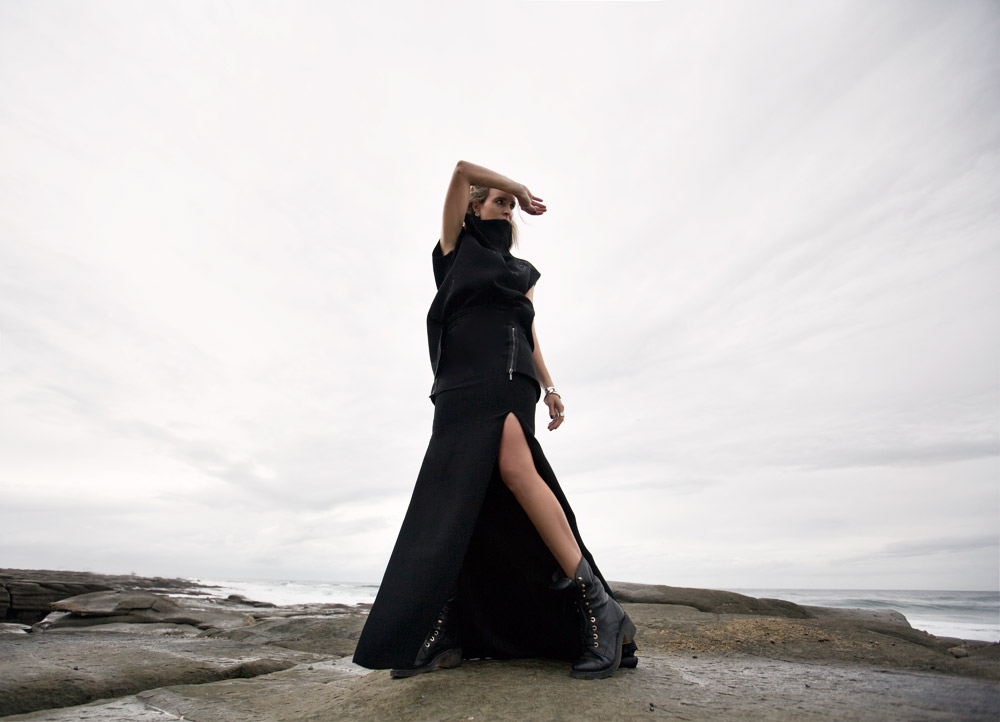 Toni Maticevski, dress, chanel boots, chanel shoes, chanel combat boots, beach editorial, rocks, outfit, celine bracelet, oracle fox outfit