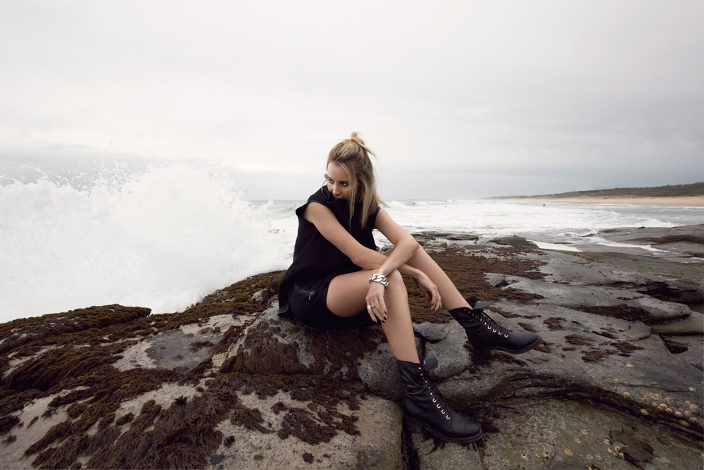 Toni Maticevski, dress, chanel boots, chanel shoes, chanel combat boots, beach editorial, rocks, outfit, celine bracelet, fashion bloggers, oracle fox outfit